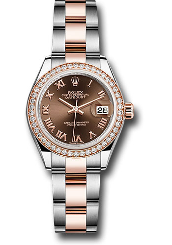 Rolex Watches - Datejust Lady 28 Steel and Everose Gold - Diamond Bezel - Oyster - Style No: 279381RBR choro