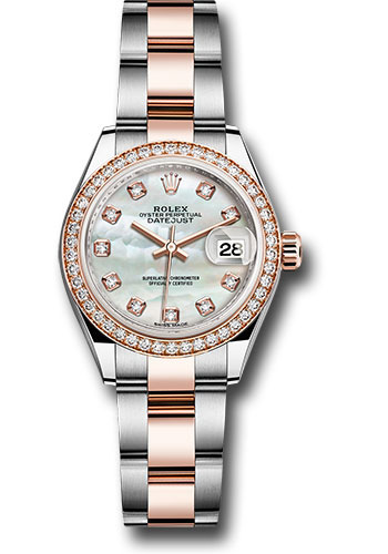 Rolex Watches - Datejust Lady 28 Steel and Everose Gold - Diamond Bezel - Oyster - Style No: 279381RBR mdo