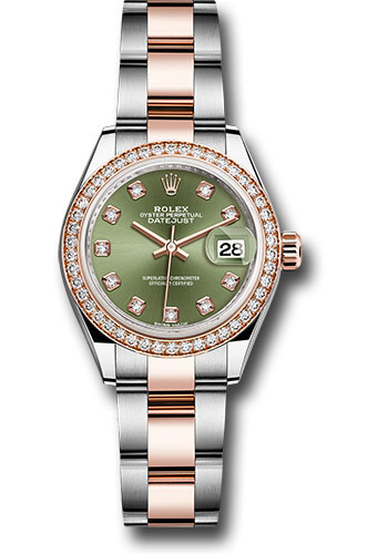 Rolex Watches - Datejust Lady 28 Steel and Everose Gold - Diamond Bezel - Oyster - Style No: 279381RBR ogdo
