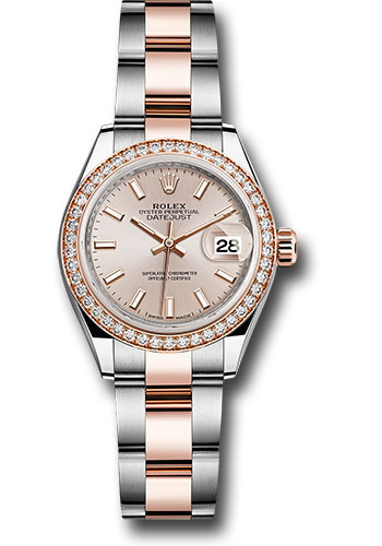 Rolex Watches - Datejust Lady 28 Steel and Everose Gold - Diamond Bezel - Oyster - Style No: 279381RBR suio
