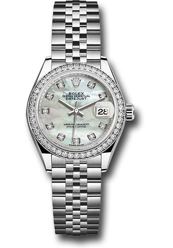 Rolex Watches - Datejust Lady 28 Stainless Steel - Diamond Bezel - Jubilee - Style No: 279384RBR mdj