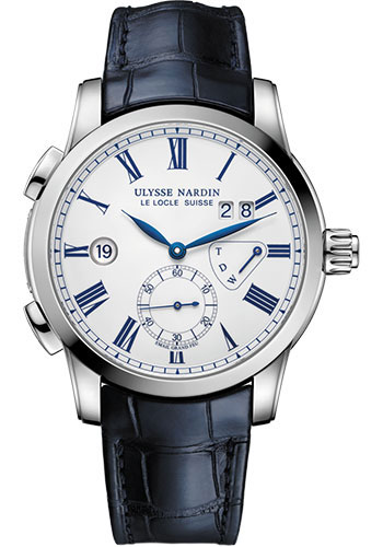 Ulysse Nardin Watches - Classic Dual Time 42mm - Stainless Steel - Leather Strap - Style No: 3243-132/E0