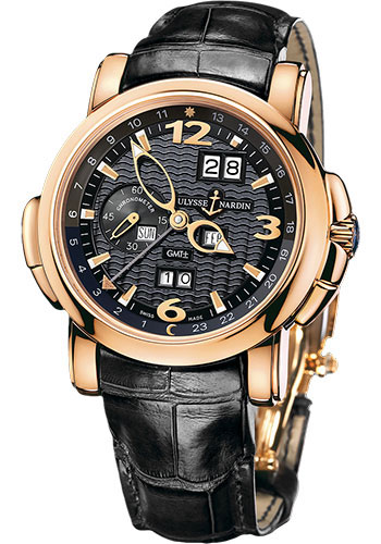 Ulysse Nardin Watches - GMT Perpetual 42 mm - Rose Gold - Leather Strap - Style No: 326-60/62