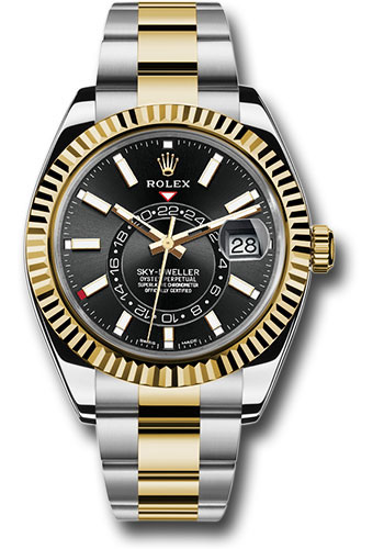 Rolex Yellow Rolesor Sky,Dweller Watch , Black Index Dial , Oyster Bracelet  , 326933 bk
