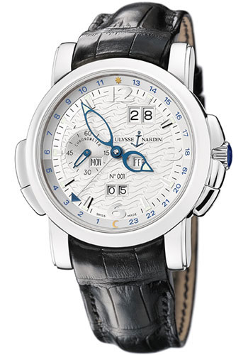Ulysse Nardin Watches - GMT Perpetual 42 mm - Platinum - Leather Strap - Style No: 329-60