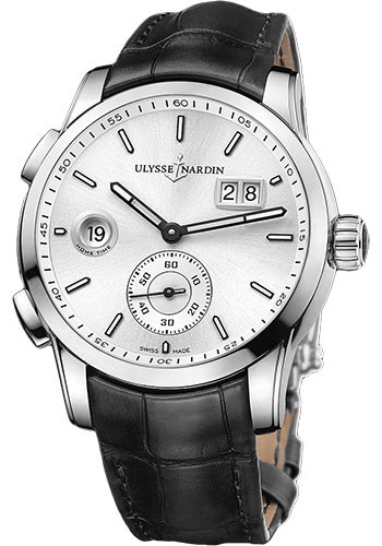 Ulysse Nardin Watches - Dual Time Manufacture Stainless Steel - Leather Strap - Style No: 3343-126/91