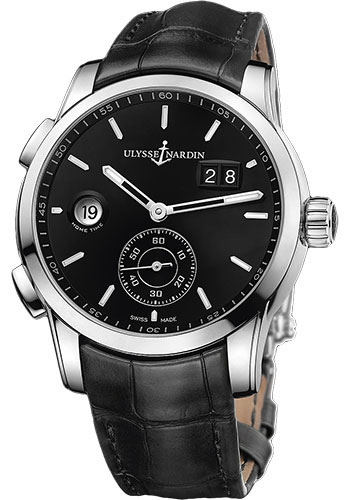 Ulysse Nardin Watches - Dual Time Manufacture Stainless Steel - Leather Strap - Style No: 3343-126/92