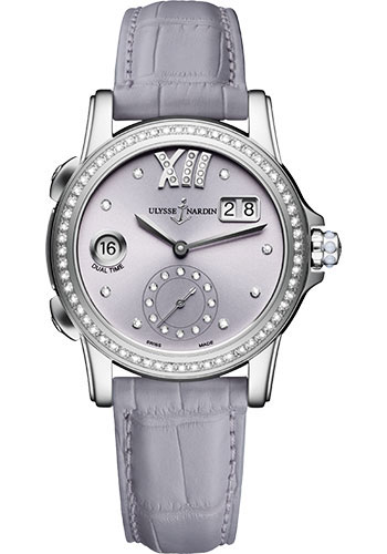Ulysse Nardin Watches - Classic Dual Time Lady Stainless Steel - Diamond Bezel - Leather Strap - Style No: 3343-222B/30-07