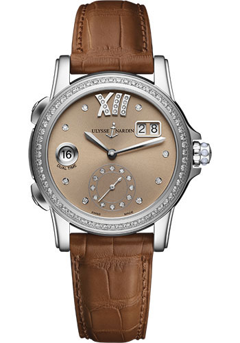 Ulysse Nardin Watches - Classic Dual Time Lady Stainless Steel - Diamond Bezel - Leather Strap - Style No: 3343-222B/30-09