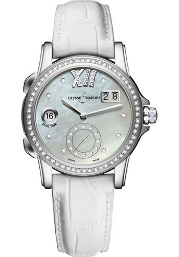 Ulysse Nardin Watches - Classic Dual Time Lady Stainless Steel - Diamond Bezel - Leather Strap - Style No: 3343-222B/391