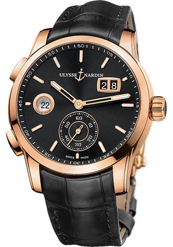 Ulysse Nardin Watches - Dual Time Manufacture Rose Gold - Leather Strap - Style No: 3346-126/92