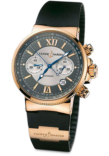 Ulysse Nardin Watches - Marine Diver Chronograph 41mm - Rose Gold - Rubber Strap - Style No: 356-66-3/319