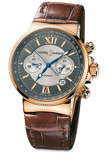 Ulysse Nardin Watches - Marine Diver Chronograph 41mm - Rose Gold - Leather Strap - Style No: 356-66/319
