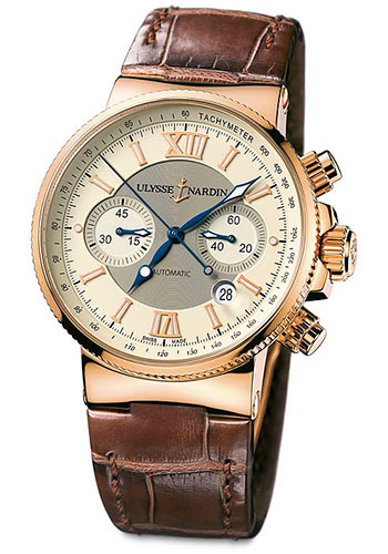 Ulysse Nardin Watches - Marine Diver Chronograph 41mm - Rose Gold - Leather Strap - Style No: 356-66/354