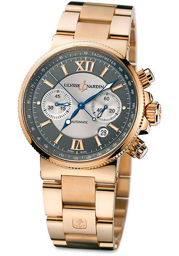 Ulysse Nardin Watches - Marine Diver Chronograph 41mm - Rose Gold - Bracelet - Style No: 356-66-8/319