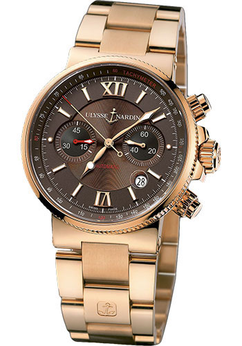 Ulysse Nardin Watches - Marine Diver Chronograph 41mm - Rose Gold - Bracelet - Style No: 356-66-8/355