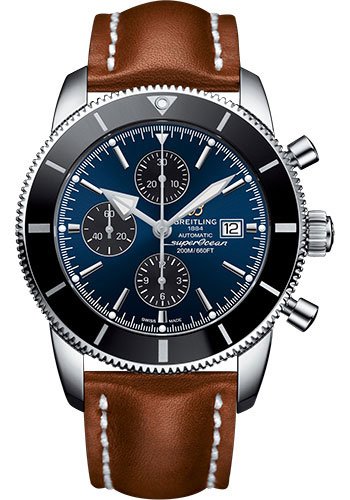 Breitling Watches - Superocean Heritage II Chronograph 46mm - Stainless Steel - Leather Strap - Deployant - Style No: A1331212/C968/440X/A20D.1