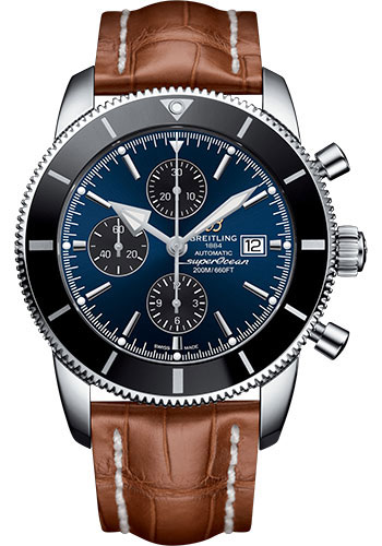 Breitling Watches - Superocean Heritage II Chronograph 46mm - Stainless Steel - Croco Strap - Deployant - Style No: A1331212/C968/755P/A20D.1