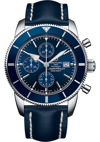 Breitling Watches - Superocean Heritage II Chronograph 46mm - Stainless Steel - Leather Strap - Deployant - Style No: A1331216/C963/102X/A20D.1