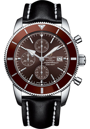 Breitling Watches - Superocean Heritage II Chronograph 46mm - Stainless Steel - Leather Strap - Tang - Style No: A1331233/Q616/441X/A20BA.1