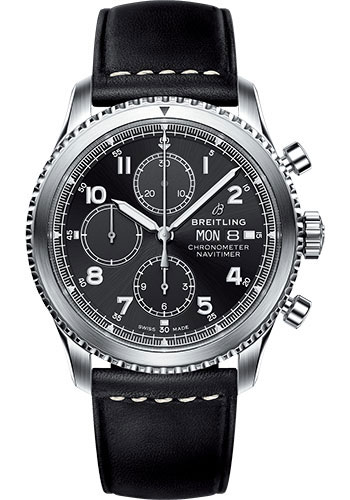 Breitling Watches - Aviator 8 Chronograph 43 Stainless Steel - Leather Strap - Tang Buckle - Style No: A13314101B1X1