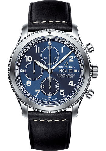 Breitling Watches - Aviator 8 Chronograph 43 Stainless Steel - Leather Strap - Style No: A13314101C1X1