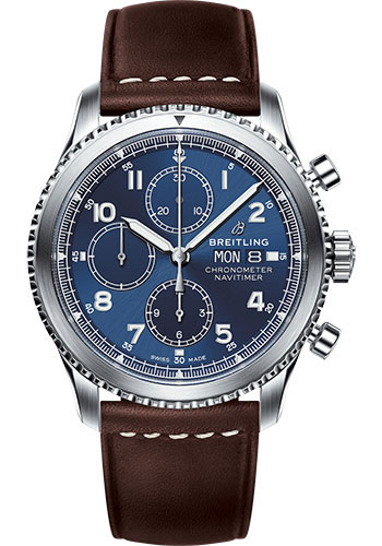 Breitling Watches - Aviator 8 Chronograph 43 Stainless Steel - Leather Strap - Style No: A13314101C1X2