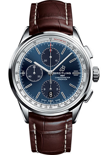 Breitling Watches - Premier Chronograph 42 Croco Strap - Tang - Style No: A13315351C1P2