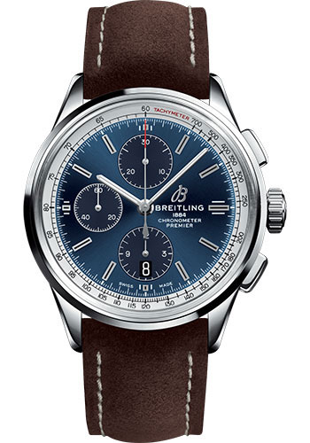 Breitling Watches - Premier Chronograph 42 Nubuck Strap - Tang - Style No: A13315351C1X2
