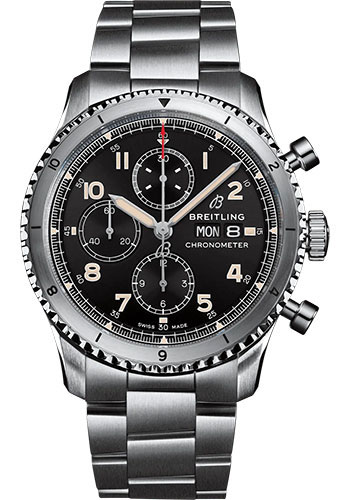 Breitling Watches - Aviator 8 Chronograph 43 Stainless Steel - Metal Bracelet - Style No: A13316101B1A1
