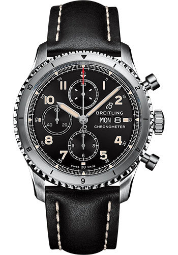 Breitling Watches - Aviator 8 Chronograph 43 Stainless Steel - Leather Strap - Folding Buckle - Style No: A13316101B1X2