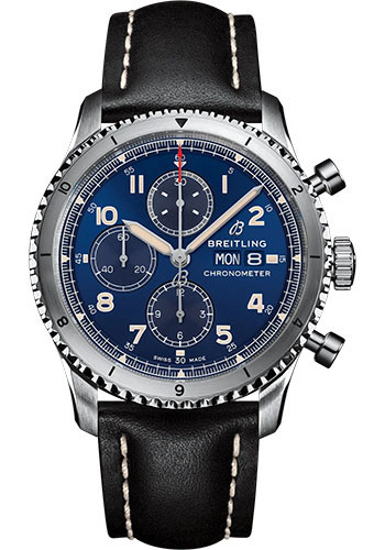 Breitling Watches - Aviator 8 Chronograph 43 Stainless Steel - Leather Strap - Folding Buckle - Style No: A13316101C1X3