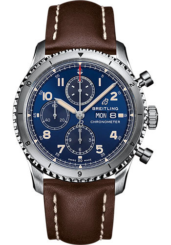 Breitling Watches - Aviator 8 Chronograph 43 Stainless Steel - Leather Strap - Folding Buckle - Style No: A13316101C1X4