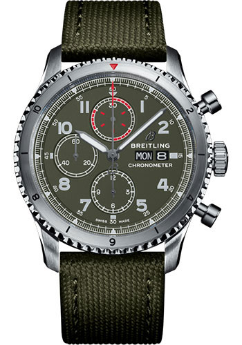 Breitling Watches - Aviator 8 Chronograph 43 Stainless Steel - Military Strap - Style No: A133161A1L1X1