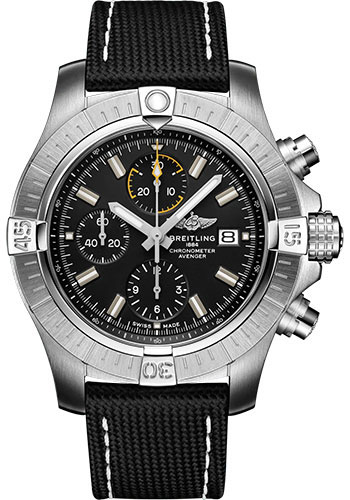 Breitling Watches - Avenger Chronograph 45 Stainless Steel - Leather Strap - Folding Buckle - Style No: A13317101B1X2