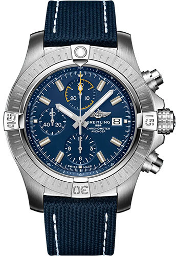 Breitling Watches - Avenger Chronograph 45 Stainless Steel - Leather Strap - Tang Buckle - Style No: A13317101C1X1