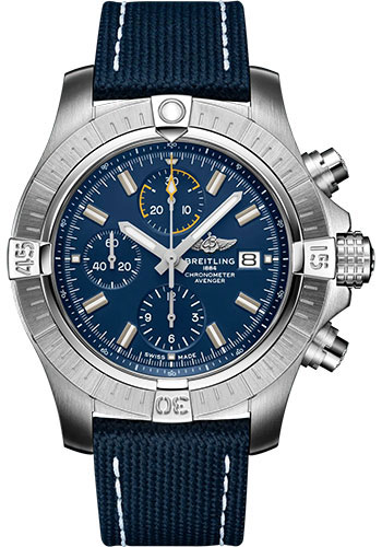 Breitling Watches - Avenger Chronograph 45 Stainless Steel - Leather Strap - Folding Buckle - Style No: A13317101C1X2
