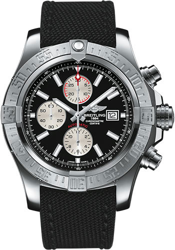 Breitling Watches - Super Avenger II Military Strap - Tang Buckle - Style No: A1337111/BC29-military-black-tang