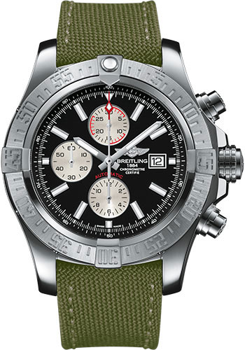 Breitling Watches - Super Avenger II Military Strap - Tang Buckle - Style No: A1337111/BC29-military-khaki-green-tang