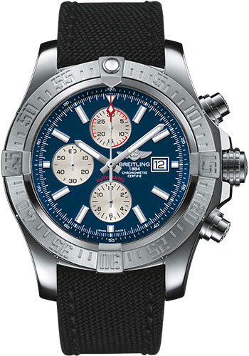 Breitling Watches - Super Avenger II Military Strap - Tang Buckle - Style No: A1337111/C871-military-black-tang
