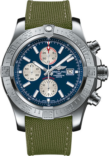 Breitling Watches - Super Avenger II Military Strap - Tang Buckle - Style No: A1337111/C871-military-khaki-green-tang