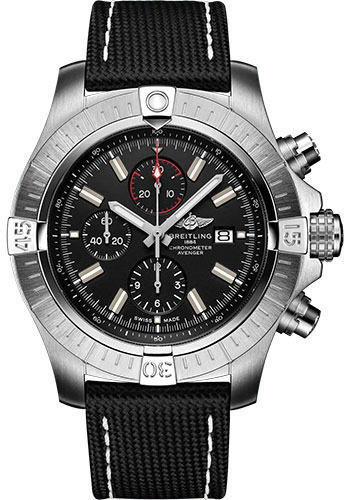 Breitling Watches - Super Avenger Chronograph 48 Stainless Steel - Leather Strap - Folding Buckle - Style No: A13375101B1X2