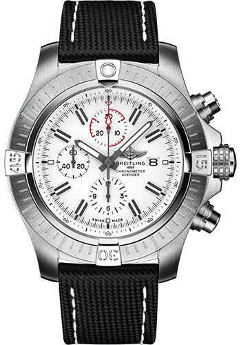 Breitling Watches - Super Avenger Chronograph 48 Stainless Steel - Leather Strap - Folding Buckle - Style No: A133751A1A1X2
