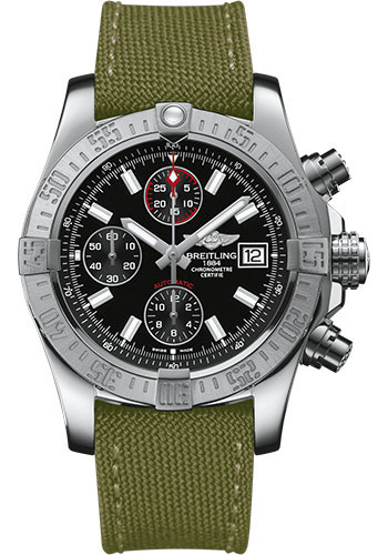 Breitling Watches - Avenger II Military Strap - Tang Buckle - Style No: A1338111/BC32-military-khaki-green-tang