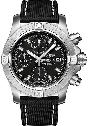 Breitling Watches - Avenger Chronograph 43 Stainless Steel - Leather Strap - Tang Buckle - Style No: A13385101B1X1