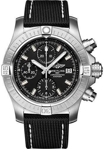 Breitling Watches - Avenger Chronograph 43 Stainless Steel - Leather Strap - Folding Buckle - Style No: A13385101B1X2