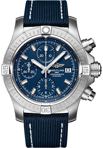 Breitling Watches - Avenger Chronograph 43 Stainless Steel - Leather Strap - Folding Buckle - Style No: A13385101C1X2