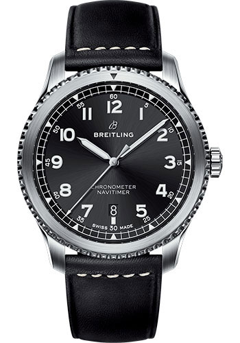 Breitling Watches - Aviator 8 Automatic 41 Stainless Steel - Leather Strap - Style No: A17314101B1X1