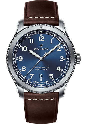 Breitling Watches - Aviator 8 Automatic 41 Stainless Steel - Leather Strap - Tang Buckle - Style No: A17314101C1X1