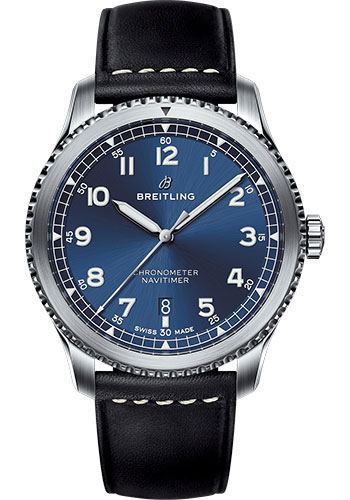 Breitling Watches - Aviator 8 Automatic 41 Stainless Steel - Leather Strap - Style No: A17314101C1X2